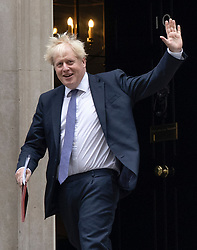 © Licensed to London News Pictures. 08/09/2020. London, UK. Prime Minister Boris Johnson walks from Downing Street to Cabinet at the Foreign Office. A new round of negotiations between the UK Government and the EU will take place later in London. British Prime Minister Boris Johnson has threatened to overwrite parts of the withdrawal agreement signed with Brussels last October. Photo credit: Peter Macdiarmid/LNP