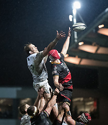 Ospreys' Alun Wyn Jones and Dragons' Cory Hill challenge for the lineout<br /> <br /> Photographer Simon King/Replay Images<br /> <br /> Guinness Pro14 Round 12 - Dragons v Cardiff Blues - Sunday 31st December 2017 - Rodney Parade - Newport<br /> <br /> World Copyright © 2017 Replay Images. All rights reserved. info@replayimages.co.uk - http://replayimages.co.uk