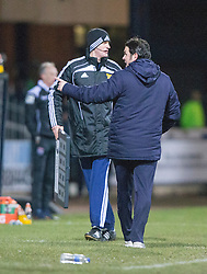 Dundee's manager Paul Hartley after only 6 extra mins were shown. <br /> Dundee 1 v 1 Ross County, SPFL Premiership game player 4/1/2015 at Dundee's home ground Dens Park.