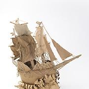 Title: Ghost Ship<br /> Artist: Tosha Carnes<br /> Date: 2018<br /> Medium: cardboard<br /> Instructor: Gary Webernick<br /> Course: Design II<br /> Awards: 2018 President's Award<br /> Status: On display<br /> Location: HLC 4000, 1st floor atrium