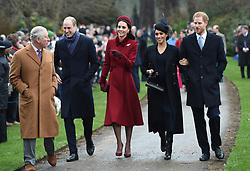 File photo dated 25/12/2018 of the Prince of Wales, the Duke of Cambridge, the Duchess of Cambridge, the Duchess of Sussex and the Duke of Sussex arriving to attend the Christmas Day morning church service at St Mary Magdalene Church in Sandringham, Norfolk.