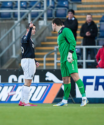 Falkirk's Mark Millar tells Dundee's keeper Kyle Letheren keeper to get off after his red card.<br /> Falkirk 2 v 0 Dundee, Scottish Championship game at The Falkirk Stadium.<br /> © Michael Schofield.