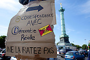 Paris, France. May 29th 2011..Rassemblemt place de la Bastille afin d'amplifier ce mouvement appelle French Revolution sur Twitter.