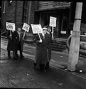 Blind Workers Strike, Pickets parade outside premises..1961..02.10.1961..10.02.1961..2nd October 1961..Image shows workers from the National League of the Blind picketing the workshops for the blind in a dispute about terms and conditions