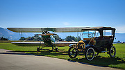 A 1931 Waco RNF and a 1911 Overland Model 49 Touring Car at WAAAM.