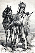 Crow Indian chief  with weapons and horse engraving on wood From The human race by Figuier, Louis, (1819-1894) Publication in 1872 Publisher: New York, Appleton