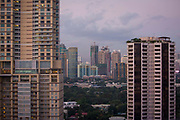 A view of the skyline in downtown Manila, Makati, Metro Manila, Philippines.