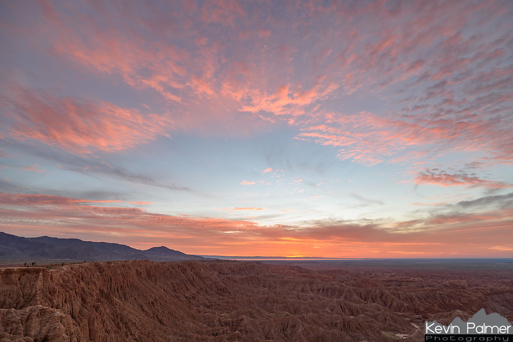 The sunrise filled the sky with color as seen from Font's Point in Anza Borrego Desert State Park.