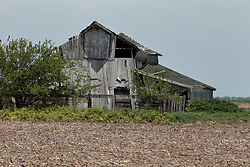 An old barn rusts and falls to ruins as it goes unmaintained on a central Illinois farm