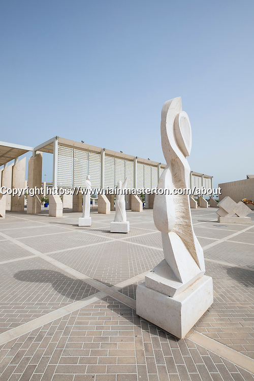 View of sculptures on display at the National Museum in Manama Bahrain