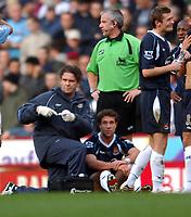 Aston Villa/West Ham United Premier League 03.02.07 <br />Photo: Tim Parker Fotosports International<br />Matthew Upson West Ham United is injured and substituted in his first match