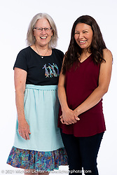 Carol Dwyer (L) and Roxanna Cordova at the Intercambio portrait Shoot. Longmont, CO, USA. June 6, 2021. Photography ©2021 Michael Lichter. Usage rights granted to Intercambio Uniting Communities and its assigns.