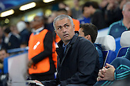 José Mourinho, the Chelsea Manager arrives at the dugout looking up towards  Maccabi Tel Aviv travelling supporters before k/o. the UEFA Champions League group G match, Chelsea v Maccabi Tel Aviv at Stamford Bridge in London on Wednesday 16th September 2015.<br /> pic by John Patrick Fletcher, Andrew Orchard sports photography.