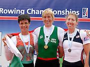 Munich, GERMANY, 01.09.2007,   A Final,  Medallist left Rumyana NEYKOVA, BUL W1X  Silver Medallist,-  Gold Medallist, Ekaterine KARSTEN-KHODOTOVITCH BLR W1X - USA W1X Michelle GUERETTE, Bronze  Medallist Women's Single Sculls, at the 2007 World Rowing Championships, taking place on the  Munich Olympic Regatta Course, Bavaria. [Mandatory Credit. Peter Spurrier/Intersport Images]. , Rowing Course, Olympic Regatta Rowing Course, Munich, GERMANY