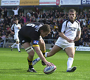 Wycombe. GREAT BRITAIN, 10th October 2004, Guinness Premiership Rugby, London Wasps and Newcastle Falcons, Adams Park, ENGLAND. [Mandatory Credit; Pete Spurrier/Intersport-images]<br /> <br /> Wasps Richard Birkett, touches down in the opening minutes of the game, to open the scoring for Wasps.