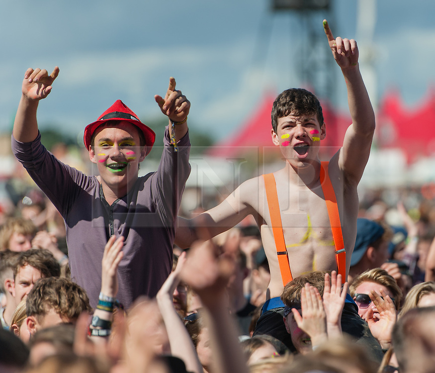 © Licensed to London News Pictures. 28/08/2015. Reading Festival, UK. Festival goers at Reading Festival on Day 1 of the festival watching Mariachi El Bronx perform as opening band on the main stagePhoto credit: Richard Isaac/LNP