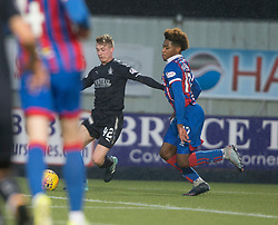 Falkirk's Tommy Robson brought down by Inverness Caledonian Thistle's Collin Seedorf for Falkirk's second penalty. Falkirk 3 v 1 Inverness Caledonian Thistle, Scottish Championship game played 27/1/2018 at The Falkirk Stadium.