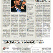 """Tearsheet (Feature story) of """"Hezbollah contra refugiados Sirios"""" published in Expresso"""