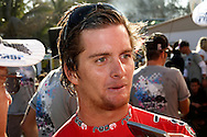 DURBAN - 9 July 2006 - Durban's Ricky Basnett became the first South African in 28 years to win  the Mr Price Pro (formerly Gunston 500) since  since surfing legend Shaun Tompson won it in 1978 . Basnett is seen here speaking to the Press after his win. Picture: Giordano Stolley