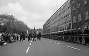 Sinn Fein (Provo) Dublin Parade.   K22..1976..25.04.1976..04.25.1976..25th April 1976..Sinn Fein held an Easter Rising Commemorative  parade..The parade started at St Stephens Green, Dublin and proceeded through the streets to the G.P.O.in O'Connell Street, the scene of the centre of the 1916 uprising..Image of the parade assembling at St Stephens Green, Dublin.