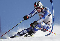 Chris Colpitts speeds to a sixth-place finish on the giant slalom course during the Wild West Classic at Snow King Mountain in Jackson, Wyo.