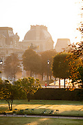 The gardens and the grounds of the Louvre Palace complex in the centre of Paris, France