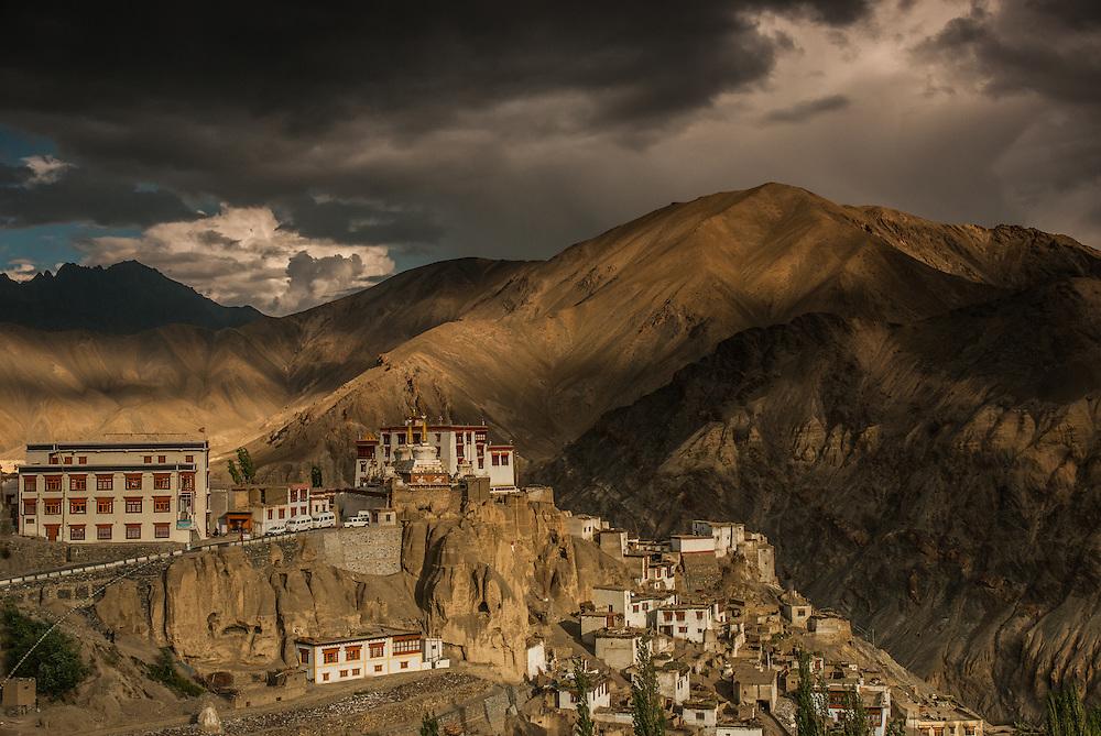 The town of Lamayuru and its monastery, hidden between high peaks, Ladakh, India