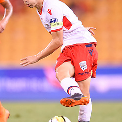 BRISBANE, AUSTRALIA - MARCH 3: Isaias of Adelaide passes the ball during the Round 22 Hyundai A-League match between Brisbane Roar and Adelaide United on March 3, 2018 in Brisbane, Australia. (Photo by Patrick Kearney / Brisbane Roar FC)