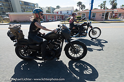 Leticia Cline, Kissa Von Addams and the Iron Lillies riding north on A1A  for the Hot Leathers ride during the Daytona Bike Week 75th Anniversary event. FL, USA. Tuesday March 8, 2016.  Photography ©2016 Michael Lichter.
