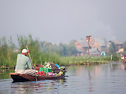 Man paddling his shikara, a local wooden boat, with goods to sell at the floating market in Srinigar, Kashmir, India
