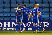 GOAL 2-1 Gillingham forward Dominic Samuel (9) scores and celebrates during the EFL Sky Bet League 1 match between Gillingham and AFC Wimbledon at the MEMS Priestfield Stadium, Gillingham, England on 24 November 2020.