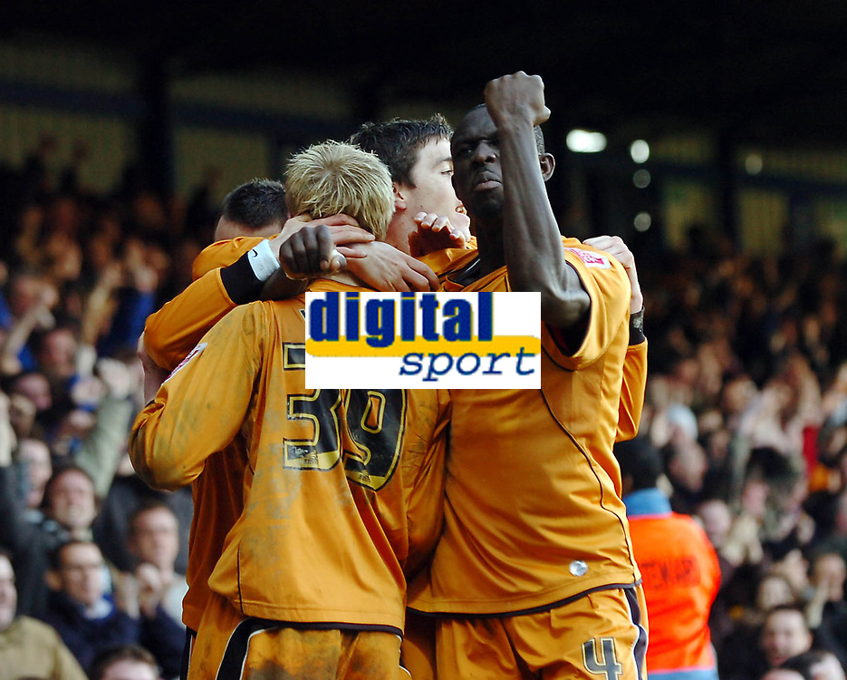 Photo: Kevin Poolman.<br />Luton Town v Wolverhampton Wanderers. Coca Cola Championship. 03/03/2007. Wolves players celebrate their 2nd goal with Seyi Olofinjana facing.