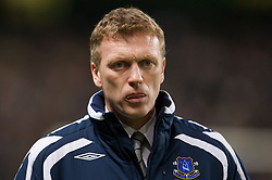 MANCHESTER, ENGLAND - Monday, February 25, 2008: Everton's manager David Moyes before the Premiership match against Manchester City at the City of Manchester Stadium. (Photo by David Rawcliffe/Propaganda)