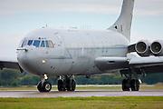 RAF Vickers VC10 air tanker plane landing at RAF  Brize Norton Air Base  in Oxfordshire, UK