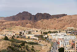 View of Wadi Musa towards tourists centre at entrance to  Petra UNESCO World Heritage Site in Jordan, Middle East