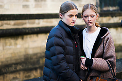 Sara Grace Wallerstedt (R), wearing Coach jacket, is seen in the streets of Paris after the Valentino show during Paris Fashion Week Womenswear Fall/Winter 2018/2019 on March 4, 2018 in Paris, France.  (Photo by Nataliya Petrova/NurPhoto/Sipa USA)
