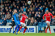 Gillingham FC defender Max Ehmer (5) and Charlton Athletic forward Igor Vetokele (14) during the EFL Sky Bet League 1 match between Gillingham and Charlton Athletic at the MEMS Priestfield Stadium, Gillingham, England on 27 April 2019.
