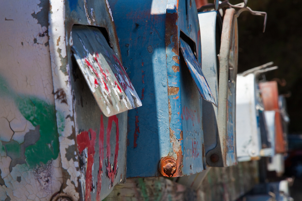 a mailbox row used by a houseboat marina community in Sausalito, California.