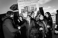 CASTELVOLTURNO (CE) - 3 FEBBRAIO 2018: Giovanni Bo (centro), Presidente della Piccola Impresa di Confindustria Caserta, partecipa all'evento di apertura del cantiere per l'ampliamento della struttura ospedaliera dell'Ospedale Pineta Grande di Castelvolturno, inaugurato da Vincenzo De Luca (Partito Democratico), Presidente della Regione Campania ed ex sindaco di Salerno, a Castelvolturno (CE) il 3 febbraio 2018.<br /> <br /> Le elezioni politiche italiane del 2018 per il rinnovo dei due rami del Parlamento – il Senato della Repubblica e la Camera dei deputati – si terranno domenica 4 marzo 2018. Si voterà per l'elezione dei 630 deputati e dei 315 senatori elettivi della XVIII legislatura. Il voto sarà regolamentato dalla legge elettorale italiana del 2017, soprannominata Rosatellum bis, che troverà la sua prima applicazione<br /> <br /> ###<br /> <br /> CASTELVOLTURNO, ITALY - 3 FEBRUARY 2018: Giovanni Bo, President of Caserta's Small Business Confindustria (General Confederation of Italian Industry) participates at the inauguration event for the opening of the construction site for the extension of the Pineta Grande Hospital of Castelvolturno, inaugurated by Vincenzo De Luca (Democratic Party / Partito Democratico), President of the Campania region and former mayor of Salerno, in Castelvolturno, Italy, on February 3rd 2018.<br /> <br /> The 2018 Italian general election is due to be held on 4 March 2018 after the Italian Parliament was dissolved by President Sergio Mattarella on 28 December 2017.<br /> Voters will elect the 630 members of the Chamber of Deputies and the 315 elective members of the Senate of the Republic for the 18th legislature of the Republic of Italy, since 1948.