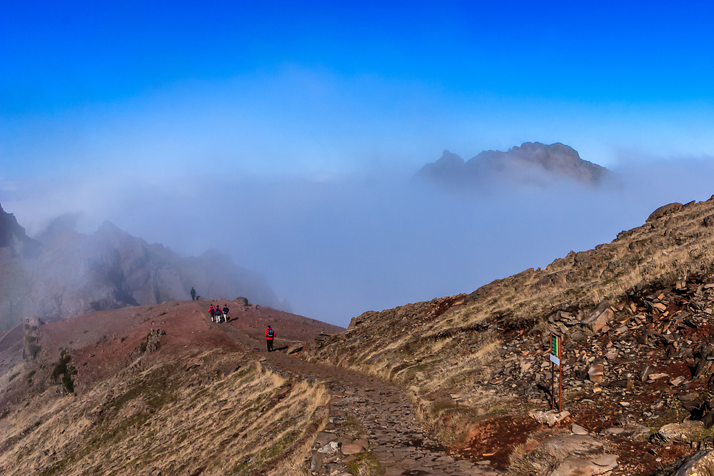 Pico Ruivo in Madeira. Pico Ruivo is the highest peak on the Madeira Islands. It can be reached only by foot, usually Pico do Arieiro after a strenuous hike