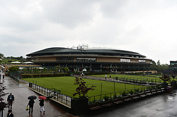 © Licensed to London News Pictures. 19/05/2019. London, UK. The new retractable roof of Wimbledon No.1 Court of the is unveiled for the first time at No.1 Court Celebration event.At a cost of £70 million, the redevelopment also includes extended seating for1000spectators. Photo credit: Ray Tang/LNP