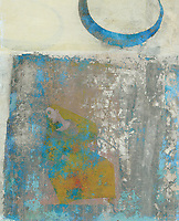 Abstract woman and crescent moon.