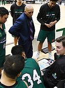 Supercity Rangers Head Coach Jeff Green and Dillon Boucher discuss tactics in the Sal's Pizza NBL Round 8 match, Hawkes Bay Hawks vs Auckland Rangers, Pettigrew Green Arena, Napier, Saturday, June 16, 2018. Copyright photo: Kerry Marshall / www.photosport.nz