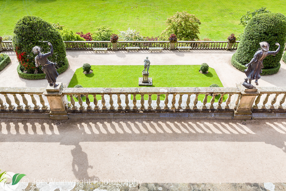 The view from the Upper Terrace at Powis Castle, Welshpool, over the Orangery Terrace towards the Great Lawn