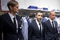 Milivoje Novakovic, Robert Koren and Miso Brecko of Slovenian National Football team at presentation of  official Dirk  Bikkembergs fashion collection, on May 20, 2010 in Ciytpark, BTC, Ljubljana, Slovenia. (Photo by Vid Ponikvar / Sportida)