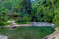 Indonesia, Sumatra. Bukit Lawang. Gunung Leuser National Park. The river crossng from Bukit Lawang to the park entrance.