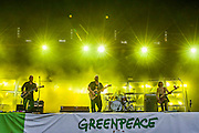 Pixies perform on the other stage.The 2014 Glastonbury Festival, Worthy Farm, Glastonbury. 28 June 2013.  Guy Bell, 07771 786236, guy@gbphotos.com