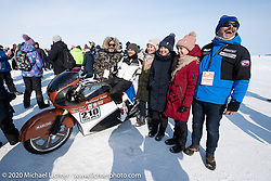 Bertrand Dubet with Fred Billon and his team mechanic-tuner Simon Pitelet on his partially streamlined custom Aprilia RSV4 racer at the opening ceremonies of the