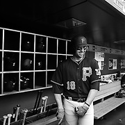Neil Walker, Pittsburgh Pirates, preparing to bat in the dugout during the New York Mets Vs Pittsburgh Pirates MLB regular season baseball game at Citi Field, Queens, New York. USA. 16th August 2015. Photo Tim Clayton