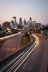 Downtown Minneapolis skyline from above I-35W